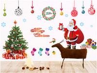 Christmas PVC transparent membrane 3d wall sticker