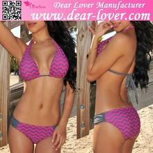 newest discount girls chevron print female triangle bikinis