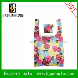 Rose Printing Foldable and Wholesale Resuable polyester shopping Bag