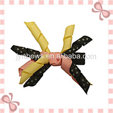 Curly Ribbon Hair Bow with Clip