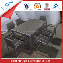 New style outdoor PS wood dining table sets for 6 seater