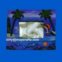 Polyresin picture frame with palm tree