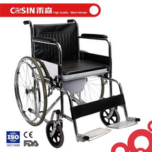 CE FDA approved folding commode wheelchair with detachable bedpan