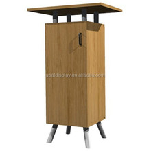Eco Systems Single Bamboo Counter Trade Show Display, accent tradeshow grey storage cabinet. customer service counter
