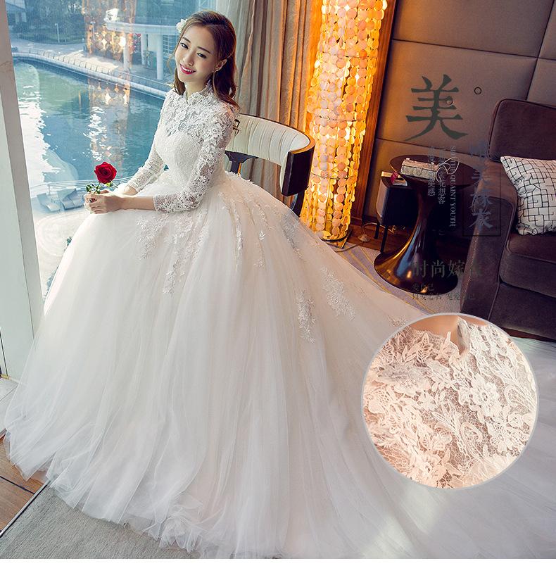 Wts64 New 2018 Korean Style Wedding Dresses Lace Up Vestido ...