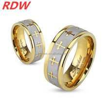 2015 Stainless Steel Celtic Cross Gold IP Ring with Brushed Center Two Tone Ring