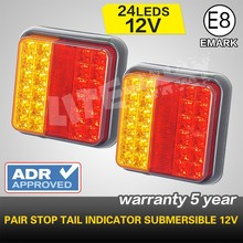 Pair Square LED trailer light led truck light stop brake indicator submersible light 12V