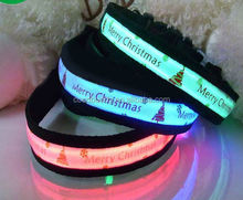 Christmas dog collar with bells christmas tree pattern led collar for pet dog 8 colors 100 patterns