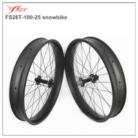 Farsports carbon bicycle wheels 100mm wide 25mm deep for snow bike 32H/32H UD matte clincher bicycle wheels with 15*135/12*170mm
