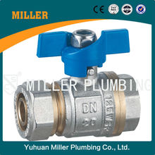 DN20 brass ball valve with butterfly handle Hot selling good quality Single ferrule Yuhuan Miller Plumbing COLTD ML-2024