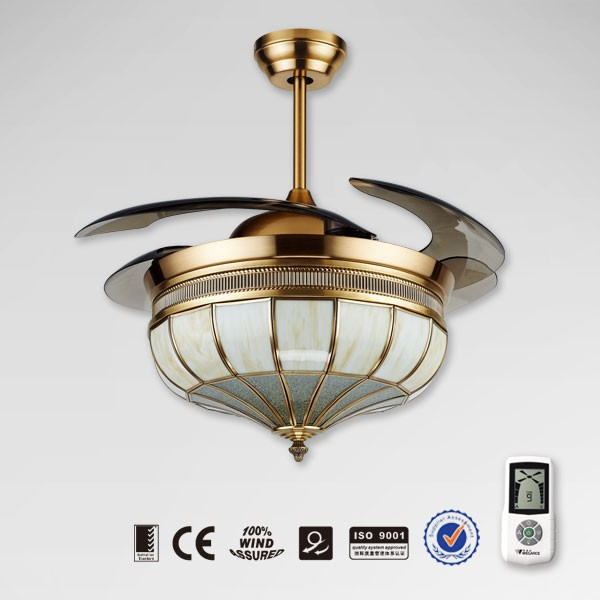 Noble decorative retractable lighting ceiling fan with hidden blades buy ceiling fan with - Fabulous retractable blade ceiling fan ...