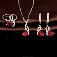 China Factory Wholesale Heart Shaped Garnet Bridal Costume Jewelry Set