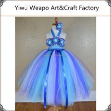 2015 Teal Blue Ocean Plus Size Corset Flower Girl Tutu Dress for Weddings TWP-156