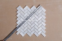 2 inch white herringbone polished marble mosaic tiles for sink
