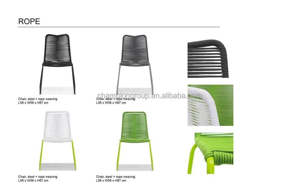 Tejer cuerda de acero silla de comedor para outdoor sillas for Sillas de acero para comedor