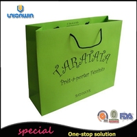 simple matt lamination green coated board paper shopping bags for gift shop