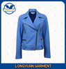 fashion design cool suit collar metal zipper leather jacket for girls