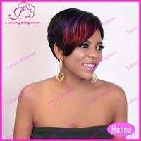 Free Shipping Cheap Reddish Highlight Short Human Hair Wigs For Black Women 100 Indian Hair Wigs