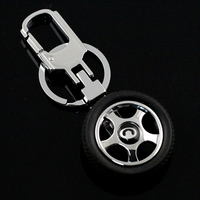 3D Customized Tyre Key Chain,vehicle wheel plain key ring with car logo car ring,great wall auto keyrings