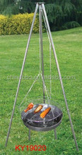 Pendant chain bbq grill with 3 legs