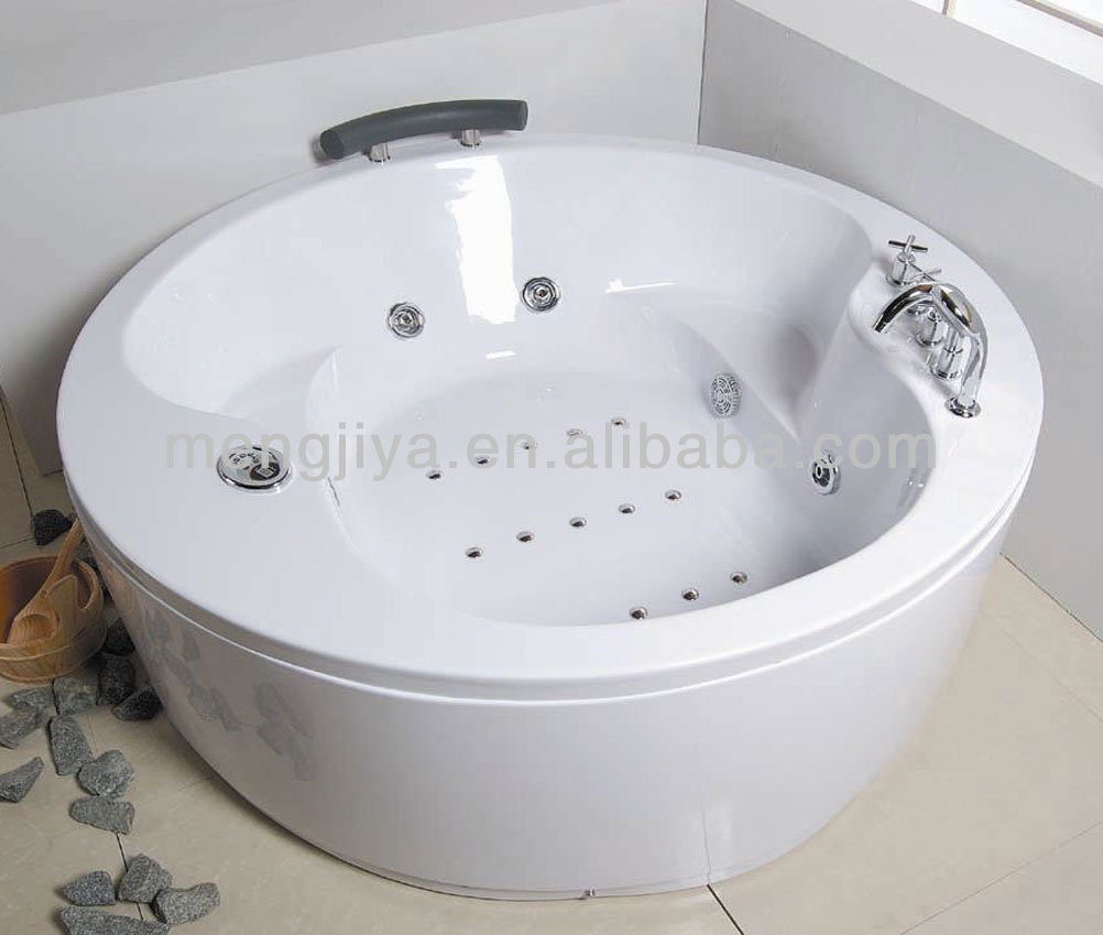 Round freestanding massage bathtub for 2 persons with thermostatic faucet CE