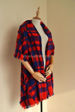 Europe and the United States restore ancient plaid big square scarf shawl