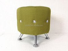 long metal foot round dressing fancy stool ottoman with diamond