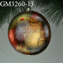 Decorating christmas glass ball with flat bottom