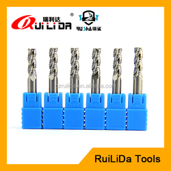 cnc 3 flutes solid tungsten carbide roughing end mill cutter for aluminium
