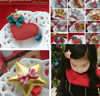 Charm christmas gift baby lovey heart / star / bear hair clips barrettes kids girls bows hairpins hairclip wholesale!!