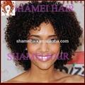 Cor Natural , Afro encaracolados brasileiro do cabelo curto Bob peruca