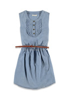 Pinktuck front belted chambray Bodydoll Dresses for girls
