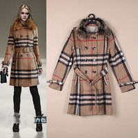 2015 top quality new runway stylish women winter plaid woolen coats for ladies with big fur collar OEM service