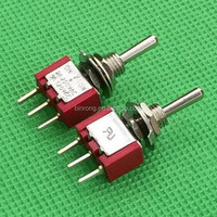 MTS-123RP Red Momentary (ON)-OFF-(ON) PCB Toggle switch 5A 125VAC 2A 250VAC