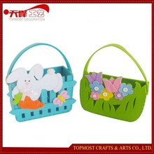 Hot sale Easter Gift Non-woven Tulip Flower Bunny Baskets Colorful Handbags