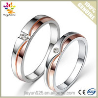 Brilliant 925 Sterling Silver Jewelry,18K rose gold & platinum plating Diamond Wedding Couple Rings