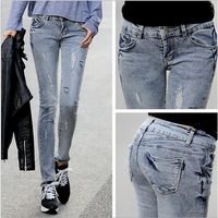d81791f 2015 wholesale china washed pencil pants ripped jeans women