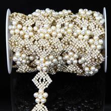 New Fashion Elegant Rhinestone Crystal Pearl Chain Trim R2948F01