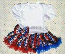2015 summer baby girls 4th of July red flowers stripe dress kids Red White and Blue vest dress children 4th of July party dress