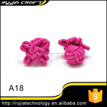 hot pink silk knot cufflink fashionable knots