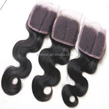 hot sale virgin remy body hair,cheap human hair Peruvian milky lace closure