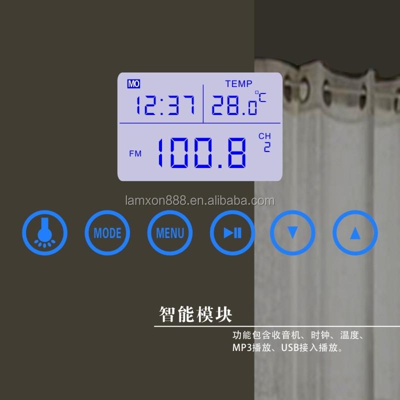 Eau De Luxe Led Lumineux Miroir Mural Bain Avec Horloge Et Bluetooth Mirroir De Salle De Bain Id