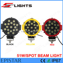Super bright 51W Auto rechargeable led work light BLACK/YELLOW/RED LED DRIVING LAMP FOR Car OFFROAD JEEP