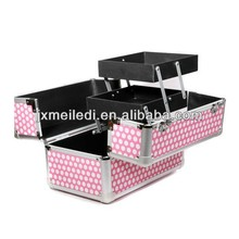 fashional design aluminum cosmetics case makeup box vanity case with pink color
