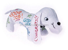 Stuffed White Cotton Dog for Autograph/Fun Toys for Parties Graduation/Stuffed Animated Toy For Kids or Adults Alike