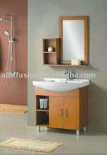 wood bathroom vanity base cabinet with mirror