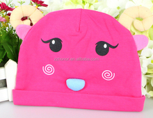 Lovely double layer tier with ram's horn, spring new design cartoon newborn baby cap, cotton hat for baby