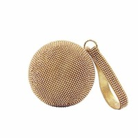 2015 Handmade Ball shaped beige Bling crystal rhinestone evening clutch bags for party