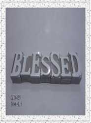 wood alphabet board 'blesse' white color decorative for home decoration