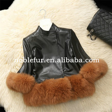 New Arrival 100/100 Real Fox Fur Trim Genuine Leather Jacket Women